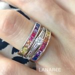 Anel Meia Aliança Rainbow Semijoia | Lanarée Acessórios