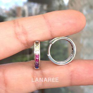 Brinco Argola Rainbow Semijoia P | Lanarée Acessórios