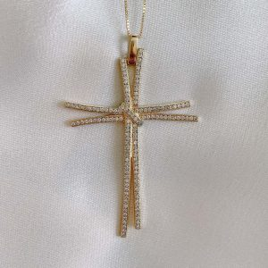 Colar Cruz Zircônia Branca