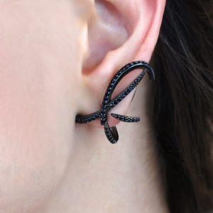Brinco Ear Jacket Nano Cristal Negro | Lanarée Acessórios