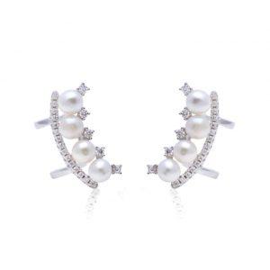 Brinco Piercing Falso 4 Pérolas Prata 925 (o par) | Lanarée Acessórios
