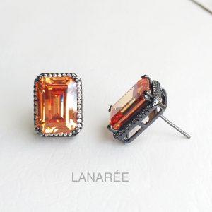 Brinco Retângulo Cristal Podange Semijoia | Lanarée Acessórios