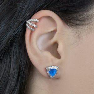 Brinco Triângulo Cristal Azul Cravejado | Lanarée Acessórios