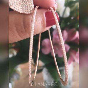 Brinco Argola Fina Ouro Rosé | Lanarée Acessórios