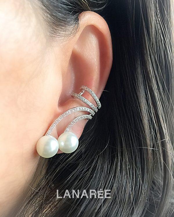 Brinco Ear Cuff Duas Pérolas | Lanarée Acessórios