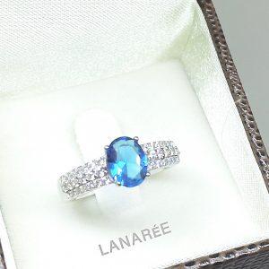 Anel Topázio Azul London Oval | Lanarée Acessórios