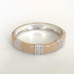 Pulseira Bracelete Esmaltado Nude Semijoia | Lanarée Acessórios
