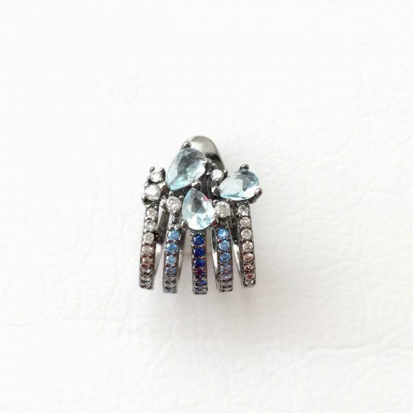 Brinco Piercing Topázio Azul | Lanarée Acessórios