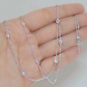 Colar Tiffany Cristal Prata - 70 cm | Lanarée Acessórios