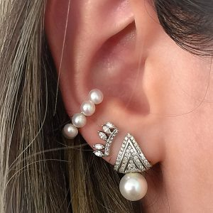 Brinco Piercing Prata com Pérolas | Lanarée Acessórios