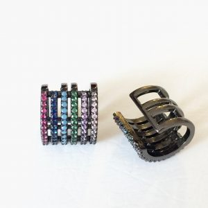 Brinco Piercing Colorido Ródio Negro | Lanarée Acessórios