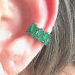 Brinco Piercing Falso Esmeralda Gotas | Lanarée Acessórios