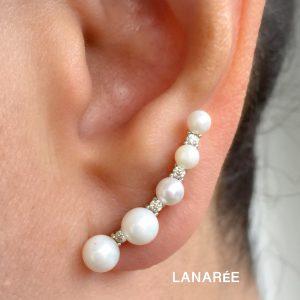Brinco Ear Cuff Cinco Pérolas | Lanarée Acessórios