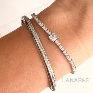 Pulseira Bracelete Cravejado Prata | Lanarée Acessórios