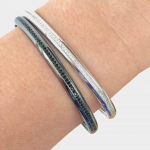 Pulseira Bracelete Cravejado Prata Ródio / Ródio negro