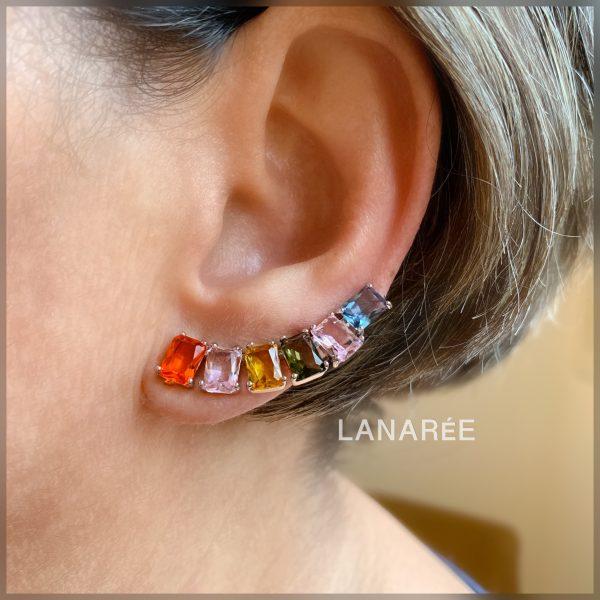 Brinco Ear Cuff Colorido Retângulo   Lanarée Acessórios