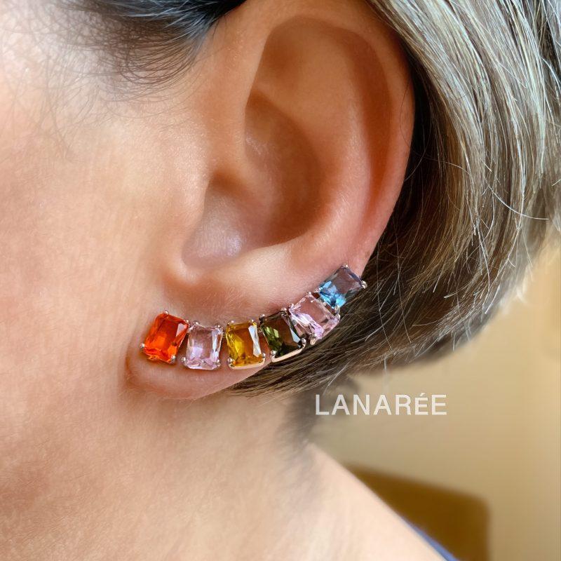 Brinco Ear Cuff Colorido Retângulo | Lanarée Acessórios