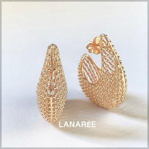 Brinco Argola Semijoia Textura Ouro | Lanarée Acessórios