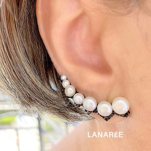 Brinco Ear Cuff Pérolas Ródio Negro | Lanarée Acessórios
