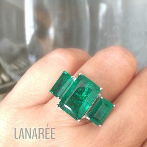 Anel Esmeralda Fusion Prata 925 | Lanarée Acessórios