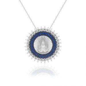 Colar Nossa Senhora Aparecida Espinélio Azul | Lanarée Acessórios