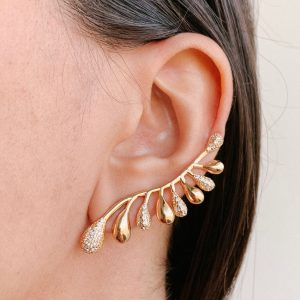 Brinco Ear Cuff Dourado Zircônia Branca | Lanarée Acessórios