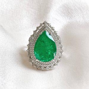 Anel Gota Esmeralda Fusion Prata 925 | Lanarée Acessórios