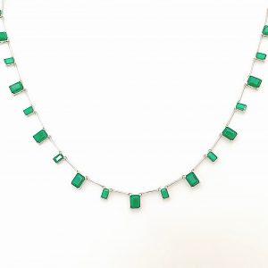 Colar Retângulos Esmeralda de Prata 925 | Lanarée Acessórios