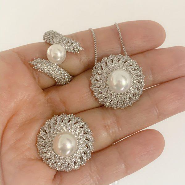 Anéis e Colar Semijoia Pérola Cravejado | Lanarée Acessórios