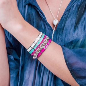 Pulseira Bracelete Esmaltado Amor Fé Paz | Lanarée Acessórios