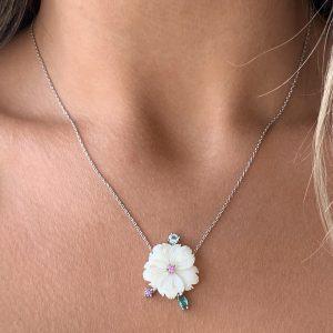 Colar Madrepérola Flor 5 Pétalas | Lanarée Acessórios