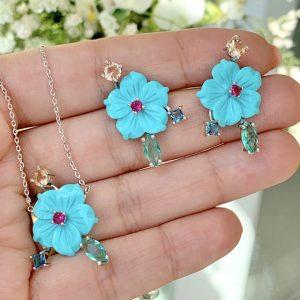 Conjunto flor turquesa | Lanarée Acessórios