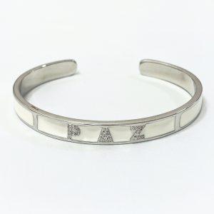 Pulseira Bracelete Esmaltado Branco Paz | Lanarée Acessórios