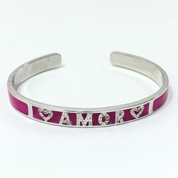 Pulseira Bracelete Esmaltado Pink Amor | Lanarée Acessórios