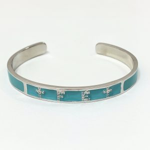 Pulseira Bracelete Esmaltado Turquesa Fé | Lanarée Acessórios