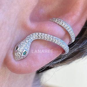Brinco Ear Cuff Cobra Prata 925 | Lanarée Acessórios