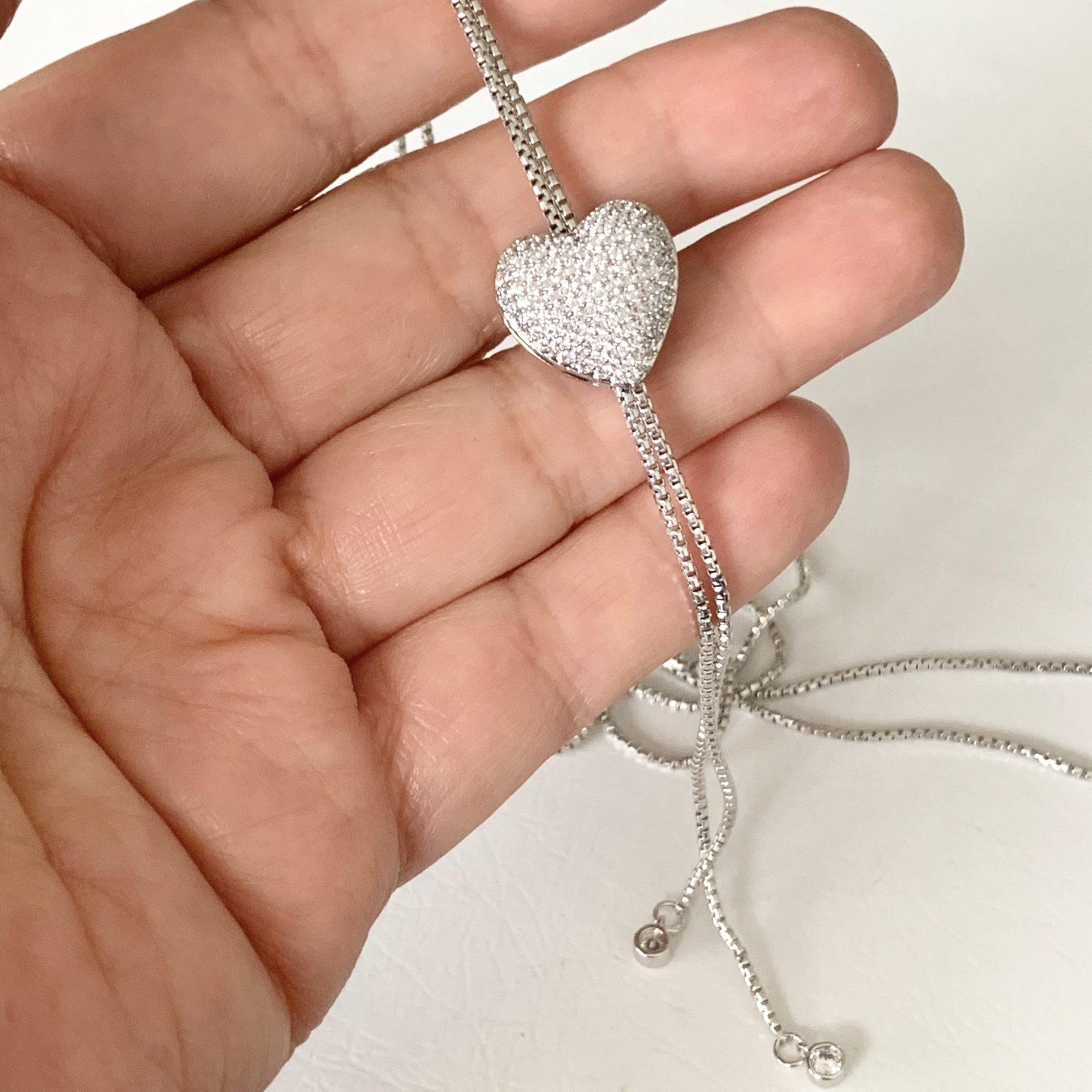 Colar Coração Zircônia Branca   Lanarée Acessórios