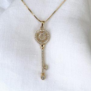 Colar Chave Dois Círculos Prata 925 | Lanarée Acessórios