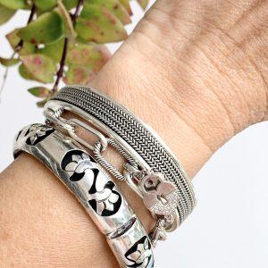 Pulseira Bracelete Trabalhado Prata 925 | Lanarée Acessórios