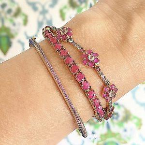 Pulseira Bracelete Zircônia Rubi | Lanarée Acessórios