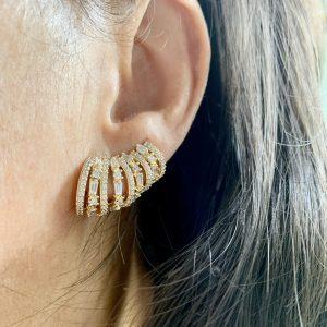 Brinco Ear Cuff Dourado Nove Argolas Dourado | Lanarée Acessórios