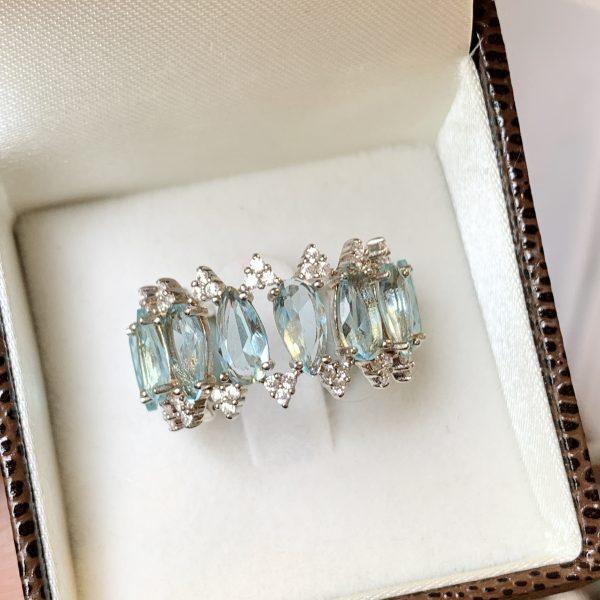 Anel Cristal Topázio Azul Prata 925 | Lanarée Acessorios