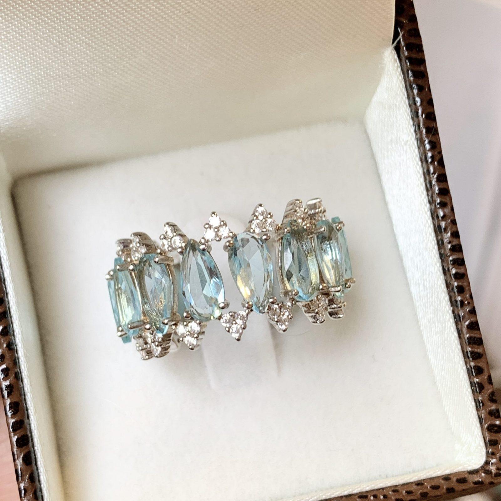 Anel Cristal Topázio Azul Prata 925   Lanarée Acessorios