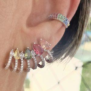 Brinco Ear Cuff Rainbow Gotas | Lanarée Acessórios