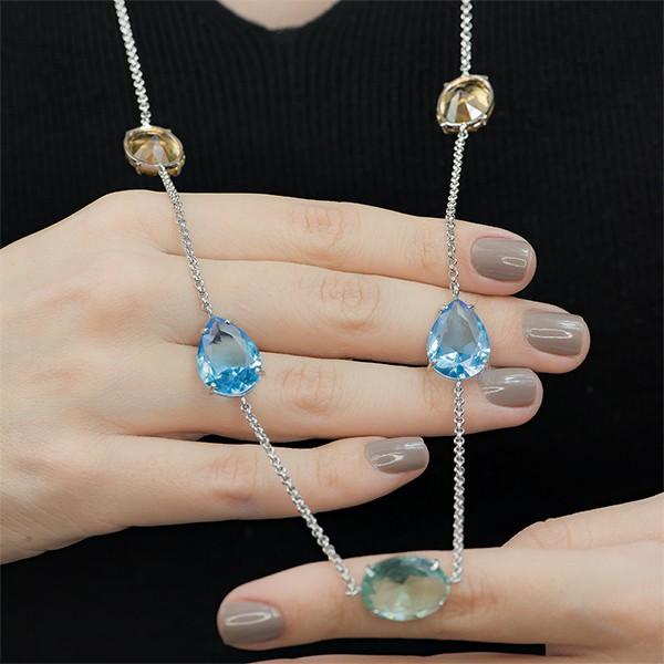 Colar Cristal Topázio Azul Ródio | Lanarée Acessórios