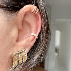 Brinco Ear Cuff Franja Prata 925 | Lanarée Acessórios