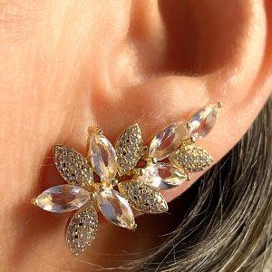 Brinco Ear Cuff Cristal Morganita Navete | Lanarée Acessórios