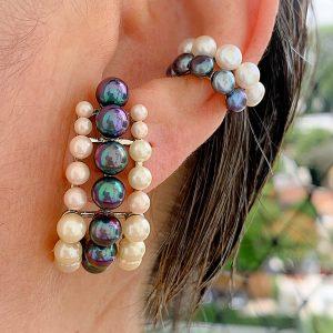 Brinco Ear Hook Pérolas Prata 925 | Lanarée Acessórios
