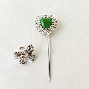 Broche Coração Esmeralda Prata 925 | Lanarée Acessórios