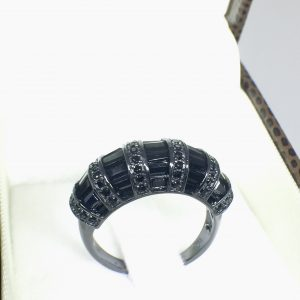Anel Baguete Zircônia Negra Prata 925 | Lanarée Acessórios